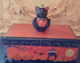 Folk Art One of a kind Halloween bat witch pumpkins cat vintage style Primitive candy container HAFAIR Penny Grotz