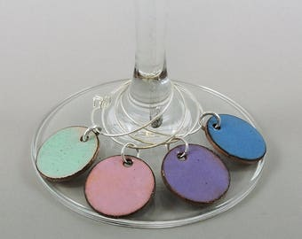 Pastel Wine Glass Charm Set, Wine Charms, Glass Charms, Drink Markers, Glass Tags, Hand Enameled Penny Charms, Glass Markers, Wine Tags