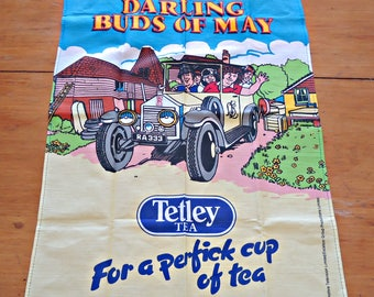 Tea Towel Souvenir Tea Towel Tetley Tea  Vintage