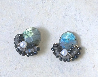 Labradorite earrings - wire wrapped cluster studs earrings
