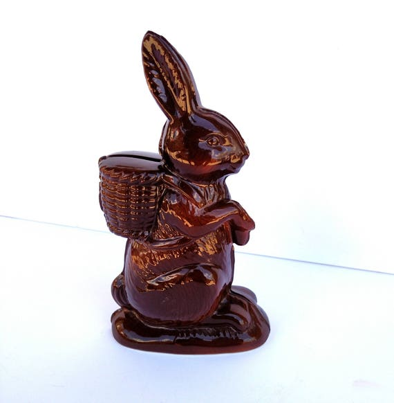 Vintage 1979 Chocolate Easter Bunny Ceramic Coin Bank by A Company of Friends