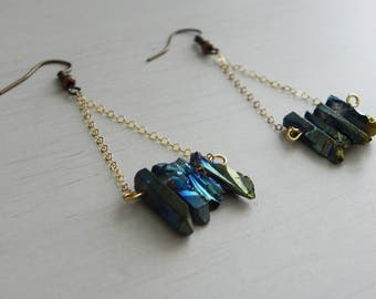 Nefertiti Earrings // Blue-Green Raw Crystal Quartz + 14k Gold Fill Chain + Dainty Earrings + Nickel Free Hooks