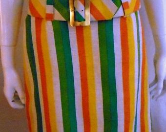 Vintage 1960s Mini Skirt Mod Striped Linen Hiphugger Multi Color 29 Waist