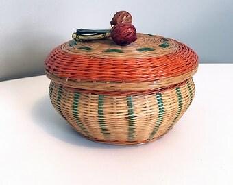 Vintage Basket Home Decor / Wicker and Porcelain Bowl with Lid / Hand Woven Basket Bowl / Asian Boho Decor