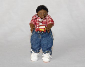 """Dollhouse Doll - 1/12 Scale Miniature Black/African American Boy - with Toy Firetruck - Handmade OOAK Polymer Clay - Posable - """"Kobe Tyler"""""""
