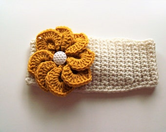 Adjustable Headband/Earwarmer with Flower - Off-White/Ecru with Golden Yellow Flower
