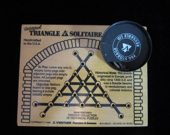 VTG 1988 Wooden Triangle Solitaire, Handcrafted in U.S.A. Atlanta, GA
