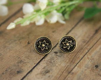 Star of David Brass Earrings Vintage Button Six Point Star - made with vintage buttons