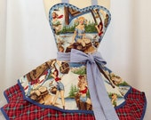 Retro Apron, Glamping Pin Up Apron, The Great Outdoors - Ready To ship, Woman's Apron