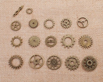 17 count Mixed Set STEAMPUNK GEAR COG Bronze Brass Charm Pendants, faux watch parts, mixed styles and sizes, 12mm to 26mm, chb0497