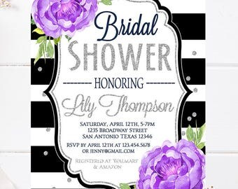 Bridal Shower Invitation Silver, purple peonies Bridal Shower, glitter, watercolor purple flowers,black stripes, glitter confetti, 5430