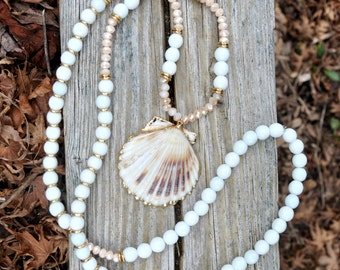 Long Beaded Shell Necklace