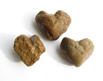 3 Heart Shaped River Rocks - Natural Beach Stones - Valentine Day Decor - Romantic Gift
