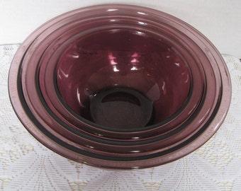 Pyrex Cranberry Mixing Bowl Set, Nesting Bowl Set, Purple Pyrex Bowls, Amethyst