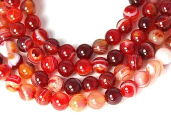 Agate Beads 6mm Golden Red Round  -15 inch strand