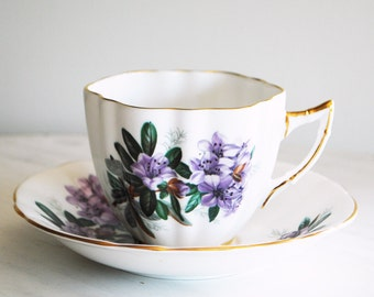 Windsor Teacup and Saucer / Vintage Tea Cup with Purple Flowers