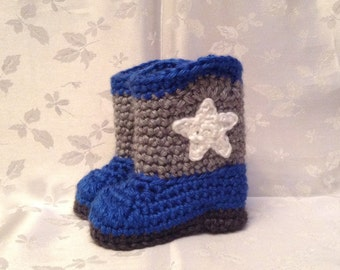 Baby Cowboy Boots Blue and Gray Cowboy Booties Made to Order Infant Booties Baby Boy Booties Baby Girl Booties