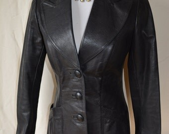 GLASSWATER vintage 70's black leather jacket XS/S