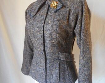 CHIC vintage 50's brown speckled wool tweed jacket blazer SM