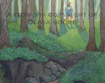 "Lord of the Rings Art - Tom Bombadil Skipping Down the Withywindle - Original Watercolor Painting - Tolkien Art 7"" x 10"""
