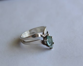 Sterling Silver Ring With Blue topaz Stone size 6 3/4