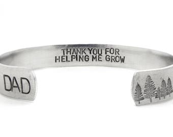 father's day gift, personalized mens bracelet, dad jewelry, gift for dad, thank you gift, trees mountain bracelet, daughter to father gift