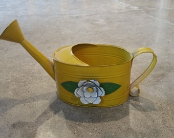 Yellow Tin Watering Can by Teleflora, Vintage Watering Can, Garden Decor, Gift for Gardener, Watering Can, Shabby Chic Decor