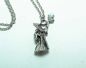 Pewter Wizard Pendant Necklace, With Crystal Ball Womens Gift Handmade