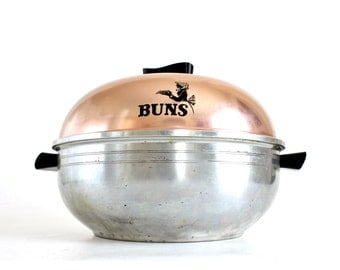 West Bend Serving Oven Vintage Aluminum Stovetop Bun Warmer