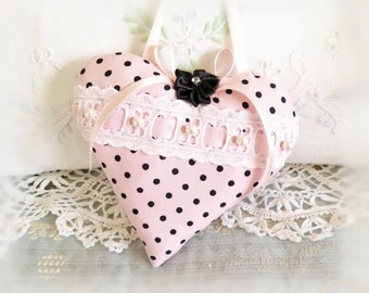 """Valentine Heart Ornament  Home Decor Heart Pillow, 5"""" Light Pink with Black Dots. Handcrafted Handmade CharlotteStyle Handcrafted Folk Art"""