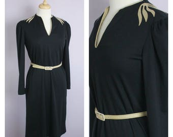 Vintage 1980's Black + Tan Knit Long Sleeve Shoulder Applique Midi Dress S/M