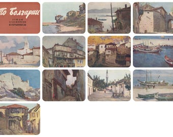 """Kukryniksy """"Travelling Bulgaria"""". Complete Set of 12 Vintage Postcards in original cover -- 1961"""