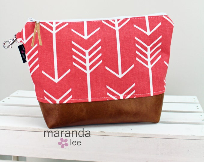 AVA Clutch -Large -Coral Arrows with PU Leather READY to SHIp Cosmetic  Diaper bag Travel Make Up