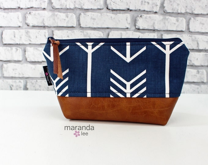 AVA Small Clutch -Navy Arrow with PU Leather  Cosmetic Toiletries bag Travel Make Up Zipper Pouch