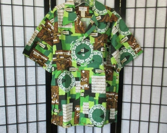 Vintage Hawaiian Shirt by Hukilau Fashions Top 1960s 1970s Green Brown Black White 46 M L Barkcloth Cotton Deadstock NOS