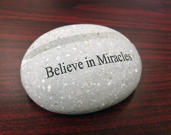Beach Pebble Engraved Business Card Holder Stand - Believe in Miracles