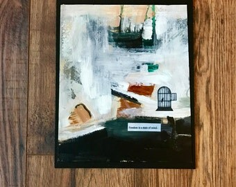 Abstract Painting, Collage Painting, Freedom, Bird, Bird Cage, Original Art