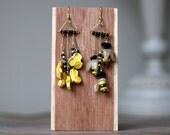 Asymmetrical Bee Earrings / Mismatched Dangle Bee Earrings / Honeycomb Earrings / Whimsical Black and Yellow Earrings / Insect Earrings