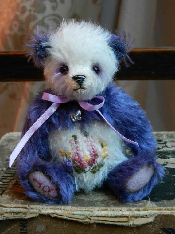 "Have a mini teddy bear made for you - Butterfly Bears by Louisa Shaw - 4"" OOAK bear"
