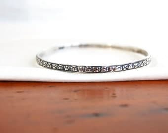 Mexican Bangle Bracelet Sterling Silver Floral Jewelry Vintage Taxco Mexico Size Medium 7.75 Flower Pattern