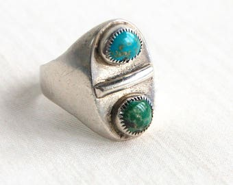 Turquoise Ring Size 11 Vintage Sterling Silver Southwestern Biker Band Blue Stone Sawtooth Bezel