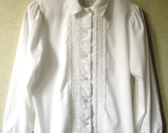 Lace Blouse white cotton blend button down poet shirt puff sleeves pintucks feminine pretty vintage 70s 80s women 16 extra large