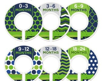 Closet Dividers, Assembled, Baby Closet Organizers, Baby Boy, Alligators, Woodland, Nursery Decor, Navy Blue, Green, Baby Shower Gift