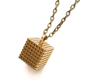brass necklace 3D printed geometric jewelry - Perforated Cube Pendant in Solid Raw Brass. modern design.