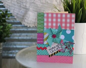 Happy Birthday-Happy Birthday Greeting Card, Make a Wish Handmade Card, Sewn Card, Quilt Like Card