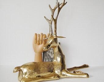 Vintage Brass Deer, Large Brass Deer Statue, Boho Decor, Christmas Reindeer Fawn, Brass Animal Statue