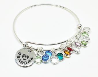 Grandma Bracelet, Nana Bracelet, Grandma Gift, Birthstone Jewelry, Grandmother Gift, Swarovski Birthstones, Grandmother Jewelry, Grandma Day