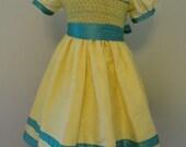 silk smocked dress size 3-4 silk smocked dress