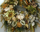 Fall Wreath Elegant Thanksgiving Front Door Decoration Autumn Pumpkin Floral Fireplace Decor XL Earth Tone Tuscan Grapevine Luxe Design
