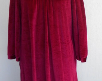 Vintage Hostess Gown Dress Miss Elaine Nightgown Red Crushed Velvet Velour Boho Holiday